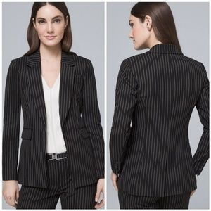 WHBM Luxe Stripe Long Line Suiting Blazer 6